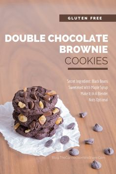 Make in a blender double chocolate brownie cookies. These easy gluten free cookies contains lots of fibre and protein, takes 5 minutes to make and the kids LOVE them!