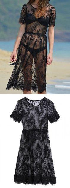 Black Eyelash Lace Mesh Dress