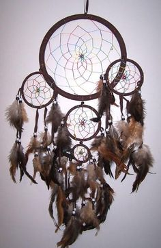 HUGE DK BROWN RAINBOW DREAMCATCHER new DREAM CATHER W FEATHERS 24 INCH hanging