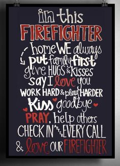 Firefighter family, firefighter wife, fire wife, firefighter, firefighter home decor Firefighter Home Decor, Firefighter Family, Firefighter Paramedic, Firefighter Wedding, Female Firefighter, Firefighter Quotes, Volunteer Firefighter, Firefighters Wife, Firefighter Shirts