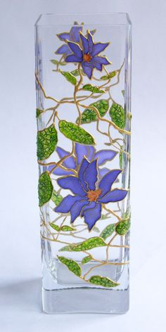 Hand Painted Glass Vase Сlematis flowers Hand Painted от Elwelry