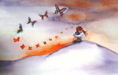 Orange Butterflies and Girl Watercolor Print  by MazzyBlueStudios, $12.00