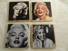 Handmade+stone+drink+coasters+with+images+of+the+famous+beautiful+actress+Marilyn+Monroe.  Each+coaster+has+a+different+image+of+her.+Black+and+white+and+color+images.+These+are+all+head+shots.  The+images+have+been+decoupaged+sealed+and+adhered+with+an+acrylic+sealer.+Because+of+the+sealer+t...