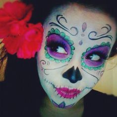 black and white sugar skull face paint - Google Search