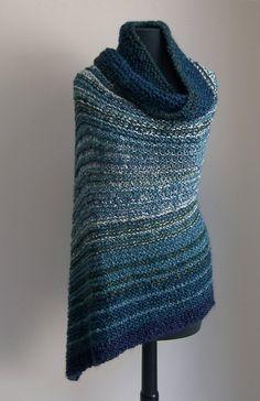 Custom Made Hand Knit Deep Ocean Shawl Wrap, Stylish Comfort Prayer Meditation, Lap Blanket, Throw, Full Rectangle, Bluegreen, FREE Shipping by PeacefulPath on Etsy