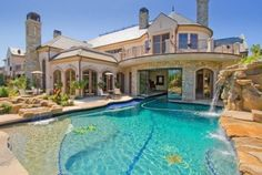 Water fall : amazing pool : big house : dream house