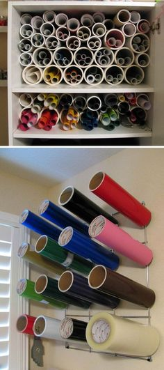 Cut PVC pipe to hold vinyl and paper rolls. This is a cheap and easy way to store vinyl and wrapping paper to keep it from getting wrinkled or damaged. http://hative.com/creative-wrapping-paper-storage-ideas/
