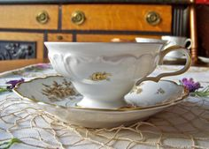 Vintage Teacup and Saucer Edelstein China Bavaria Gold Roses Footed Teacup Maria Theresia Germany