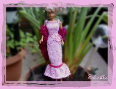 Puppenkleidung - enges Abendkleid mit Blüte ** für Barbie ** rosa - ein…