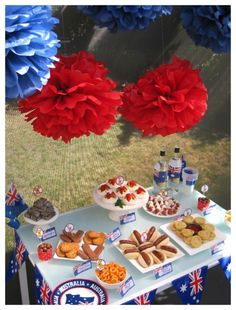 With only one week to go until Australia Day (January party preparations will now be in full swing. Australia Day is is a fantastic opportunity to American Themed Party, Australian Party, Australia Day Celebrations, Aus Day, Easy Party Decorations, Aussie Food, Anzac Day, Dinner Themes, Bbq Party