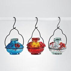 recycled glass hummingbird feeder $25