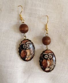 Owl Dangle Earrings Upcycled Vintage OOAK by heartsoftoday on Etsy, $20.00
