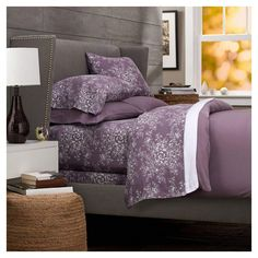 Get it now Pinzon Printed Cotton Flannel Full/Queen Duvet Cover, Floral Lavender 100 Cotton Duvet Covers, Full Duvet Cover, Bed Duvet Covers, Duvet Sets, Purple Bedding Sets, Grey Bedding, Luxury Bedding, Floral Bedding, Flannel Duvet Cover