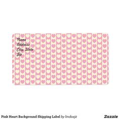 Pink Heart Background Shipping Label