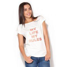 Letní dámské tričko bílé barvy s citátem - manozo.cz My Life My Rules, T Shirt, Women, Sport, Fashion, Supreme T Shirt, Moda, Tee Shirt, Deporte