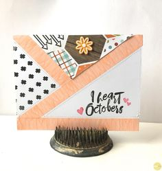 I heart Octobers | Card, by Suz Mannecke using the City Park collection from www.cocoadaisy.com #cocoadaisy #kitclub #scrapbooking #cards #DITL #planner #washi #stamping #woodgrain