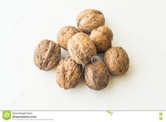 Walnuts In Shell On A White Background Stock Image - Image of background, healthy: 73218619 Walnut Shell, Shells, Stock Photos, Healthy, Image, Food, Conch Shells, Seashells, Essen