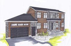 Maison en perspective: un croquis en perspective permet de visualiser l'ajout d'un garage, de nouvelles fenêtres, de nouveaux revêtements extérieurs à partir d'une construction existante.