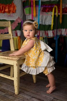 Yellow Open Back Pinafore Dress and Ruffled Bloomers
