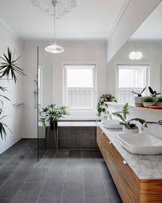 Hoddle House by Freadman White: Elsternwick, VIC From the Architect: The existing dwelling was a single-storey brick home with a rear… Bathroom Floor Tiles, Laundry In Bathroom, Bathroom Renos, Family Bathroom, Black Bathroom Floor, Gray Floor, Bad Inspiration, Bathroom Inspiration, Bathroom Styling
