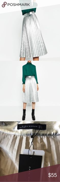 Zara Metallic Skirt Brand new with tags Zara Skirts Midi