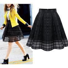 LIVA GIRL - Mesh Check Pleated Skirt