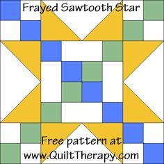 Frayed Sawtooth Star Quilt Block