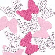 Personalized Butterfly Party Decorations - Table Sprinkles in Hot Pink & Light Pink or Custom on Etsy, $3.75