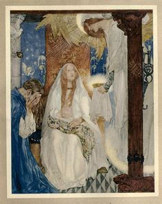 "Le morte Darthur 1921- William Russell Flint Book XI Chapter IV And a maiden bare that Sangreal, and she said openly: ""Wit you well, Sir Bors, that this child is Galahad."""