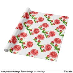 Pink peonies vintage flower design wrapping paper