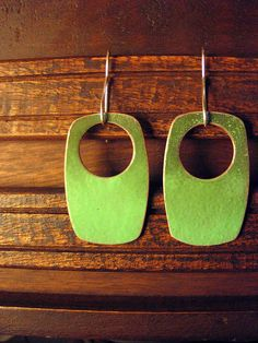 green-fade-earrings: enamel-copper-sterling earwires by Jenny windler