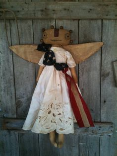 Primitive Folk Art Americana Angel Doll with flag Prim Summer
