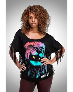 Party points to ME! I just found the Bob Marley Burnin' Lion Fringe Dolman Junior Fitted Tee from Spencer's. Visit their mobile website to get this item and more like it.