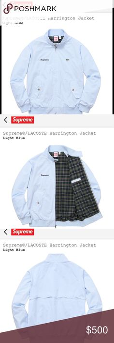 Supreme/Lacoste Harrington Jacket Light Blue sz M One of Lacoste's well known jacket, the Harrington is made from cotton with plaid flannel linings. Ribbed cuff for those cool seasons and both Supreme and Lacoste logos embroidered on the chest. Seldom both brands collab making this jacket a rare gem. Grab em' before some else does. 100% authentic. Comes with supreme bag and sticker. Will ship immediately once item reaches. Supreme Jackets & Coats