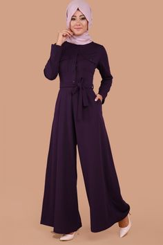 Göğsü Cepli Düğmeli Tulum  Mor Ürün kodu: UKB2071-S--> 59.90 TL Muslim Fashion, Hijab Fashion, Designs For Dresses, Hijab Dress, Office Looks, African Fashion, Casual Wear, Jumpsuits, Overalls