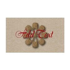Burgundy Add Text Gold Flower Snowflake Decal