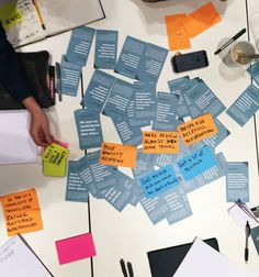Participants group brainstorm inspiration cards with post-it notes under one of many workshop tests for the Persuasive Pattern Card Deck.