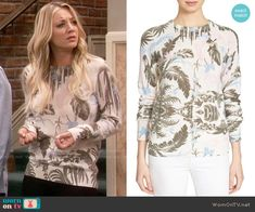 Penny's leaf print sweater on The Big Bang Theory.  Outfit Details: https://wornontv.net/62776/ #TheBigBangTheory