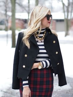classic peacoat + breton stripes + luxe plaid