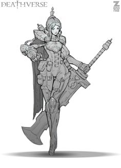 Lilith Dyer Sketch 01 by Zeronis female fighter knight soldier sword streampunk… Character Poses, Female Character Design, Character Creation, Character Design References, Character Drawing, Character Design Inspiration, Character Illustration, Character Concept, Concept Art