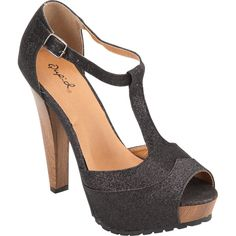 Qupid Saydie platform shoes. Glitter-covered upper. T-strap. Peep toe. Faux wood midsole and heel. Ever so lovely t-strap mary jane.