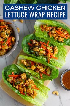 Get ready for your tastebuds to start singing with this Cashew Chicken Lettuce Wrap Recipe that's such a fun and flavorful dinner! Ground Chicken, Carrots, scallions, and cashews give a meaty and crunch texture. The ginger, garlic, sesame oil, sweet chili sauce, sriracha, and Soy Sauce are a harmonious blend of BIG flavor! Rice bulks up and rounds out this meal. #lettucewraps #chickendinners #cashewchicken #chickenlettucewraps Lettuce Wrap Recipes, Chicken Lettuce Wraps, Easy Chicken Dinner Recipes, Appetizer Recipes, Appetizers, Healthy Comfort Food, Healthy Eats, Healthy Recipes, Cashew Chicken