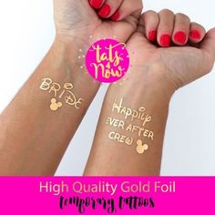 Great party favor for your Disney themed bachelorette party. These gold tats are high quality and last long making a great addition to your Happily ever after crew and Disney Bride. Disney Bachelorette Parties, Bachelorette Decorations, Happily Ever After, Gold Tattoo, Tattoo Bride, Tattoo Set, Lotion, Prince Charmant, Party Tattoos