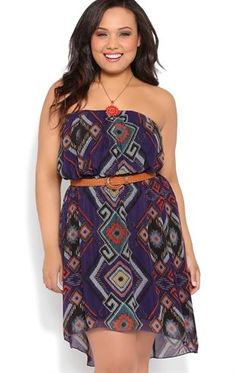 Deb Shops Plus Size Tribal Print High Low Strapless Blouson Dress with Belt