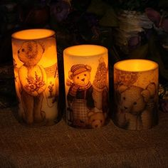 Led candles Flameless candles Lights Home Impressions Lovely Bear Decal Flameless Led Pillar Candle light for Children Birthdays gifts with TimerBattery Operated3x4inch3x5inch3x6inch *** Learn more by visiting the image link.
