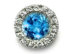 14K White Gold Diamond And Blue Topaz Charm - December Birthstone.