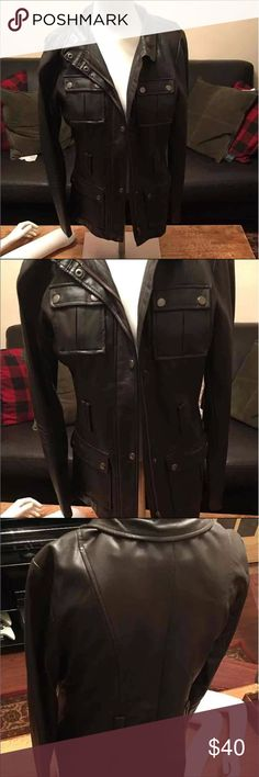 Bagatelle Faux Leather Jacket • size small • looks great on • military style dark brown leather • fast same day shipping! Jackets & Coats