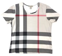 AUTH #Burberry #Brit #Nova CHECK Pink Black Gray Stretch Fitted #Top T-Shirt sz L #Burberry #Blouse #Casual