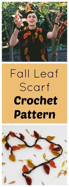Free Crochet Pattern - Fall Leaf Scarf Wearable
