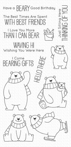My Favorite Things Clear Stamps Polar-Bären / Polar Bear Pals My Favorite Things Polar Bear Pa Doodle Drawings, Doodle Art, Polar Bear Drawing, Baby Polar Bears, Theme Noel, Mft Stamps, Simon Says Stamp, Love You More Than, Digital Stamps